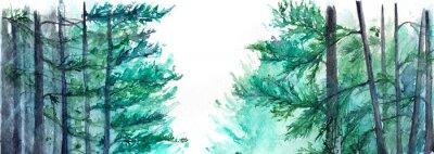 Plakat Akwarela turkusowy zimowy las sosnowy krajobraz lasu