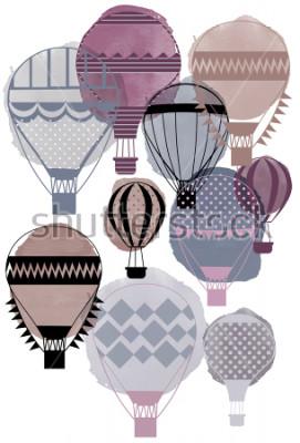 Plakat Akwarela wektor balony powietrza