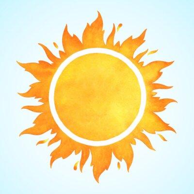 Plakat Akwarela wektor słońce faliste języki ognia, płomień korony i iskier. Okrągła granica akwareli, ramka z miejscem na tekst. Pomarańczowy i żółty szablon koła akwarela.