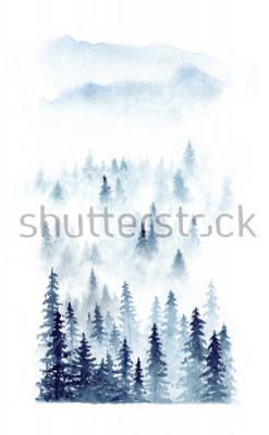 Plakat Akwarela zimowy krajobraz lasu we mgle. Świerczyny odizolować na białym tle