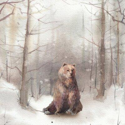 Plakat Akwarela zimy krajobraz: śnieżna lasowa scena z niedźwiedziem. Ręcznie malowane rocznika karty.