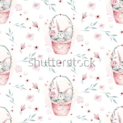 Plakat Akwareli wiosny ilustracja śliczny Easter dziecka królik. Królik kreskówki zwierzęcy bezszwowy wzór z koszem