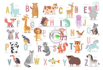 Plakat Alfabet Cute Animals dla edukacji dzieci. Zabawne ręcznie rysowane postacie w stylu.