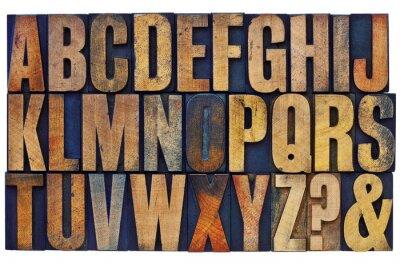 Plakat alfabet drewna zabezpieczające typu bloki