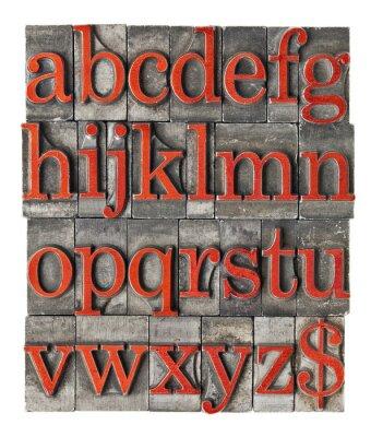 Plakat alfabet grunge rodzaj metalu