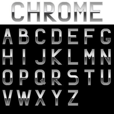 Plakat Alfabet. Litery Chrome. Metal czcionki.