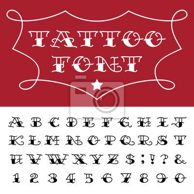 Alfabet Wektor Tatuaż Stylu Czcionki Plakaty Redro