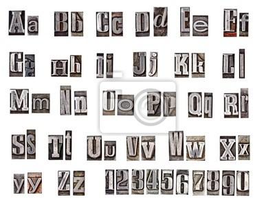 Plakat alfabet z metalowych liter
