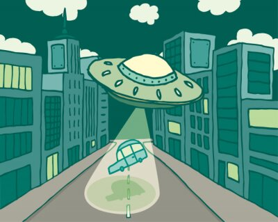 Plakat Alien statek kosmiczny lub UFO porywa samochód w mieście