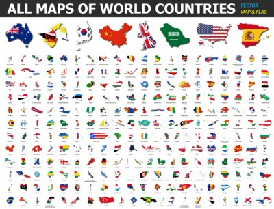 Plakat All maps of world countries and flags . Collection of outline shape of international country map with shadow . Flat design . Vector .