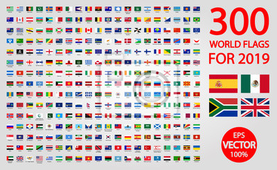 Plakat All official national flags of the world . circular design
