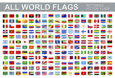 Plakat All world flags - vector set of rectangular icons. Flags of all countries and continents