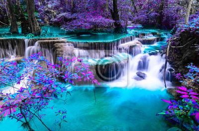 Plakat amazing of huay mae kamin waterfall in colorful autumn forest at Kanchanaburi, thailand