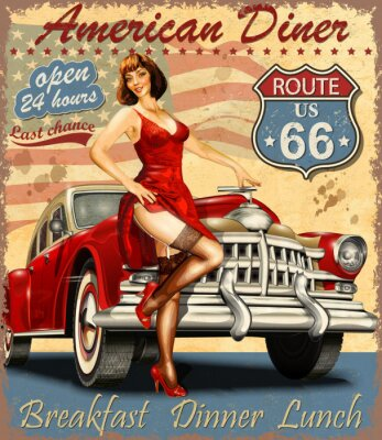 Plakat American Diner vintage poster with retro car and pin-up girl.