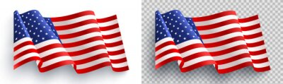 Plakat American flag on white and transparent background for 4t of July poster template.USA independence day celebration.USA 4th of July promotion advertising banner template for Brochures,Poster or Banner