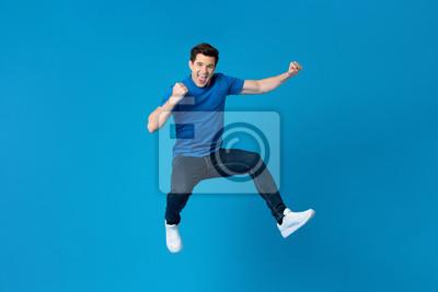 Plakat American man jumping and enyoying his success