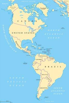 Plakat Ameryce Ameryce Polnocnej I Poludniowej Mapie Politycznej