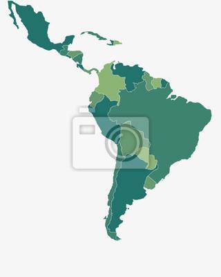 Plakat Ameryka Łacińska / Ameryka Południowa - wysokiej szczegółowe ilustracji wektorowych odizolowane