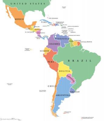 Plakat Ameryka Łacińska singiel stanowi mapę polityczną. Kraje znajdujące się w różnych kolorach, z granicami państwowymi i nazwy kraju angielskim. Z Meksyku do południowego krańca Ameryki Południowej, w tym