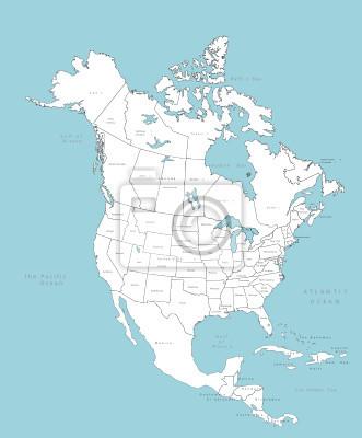 Plakat Ameryka Północna map wektorowych z krajami