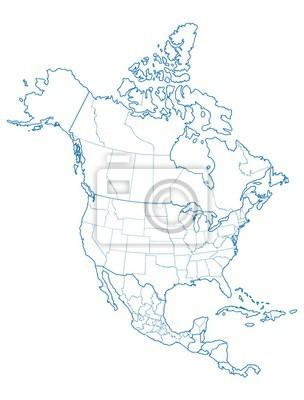 Plakat Ameryka Północna mapę