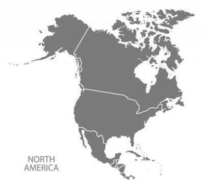 Plakat Ameryka Północna z krajami mapie szare