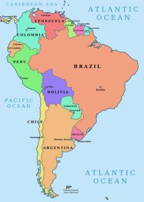Plakat Ameryka Poludniowa Kolorowe Wektorowa Mapa Polityczna Na