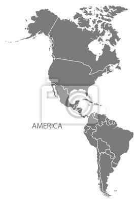 Plakat Ameryka z krajami mapie szare