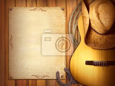 Plakat Amerykańska muzyka w tle Kraj poster.Wood z gitarą