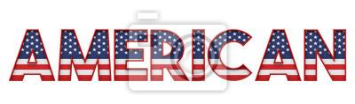 Plakat Amerykańskie gwiazdy i paski flaga słowo czcionki. Renderowanie 3D