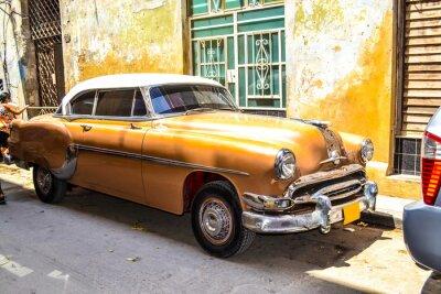 Plakat Amerykańskie i radzieckie samochody 1950 - 1960 z Hawany.