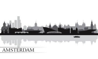 Plakat Amsterdam city skyline, sylwetka, tło