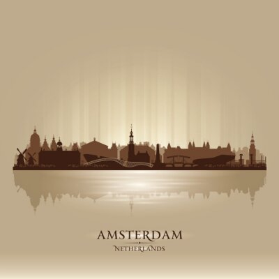 Plakat Amsterdam Holandia sylwetka wektor panoramę miasta