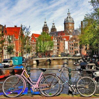 Plakat Amsterdam, kanały i rowery
