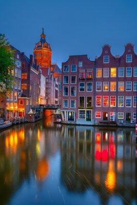 Plakat Amsterdam nocą