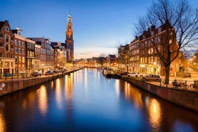 Plakat Amsterdam nocą, Holandia