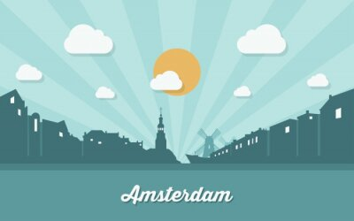 Plakat Amsterdam Skyline - płaska
