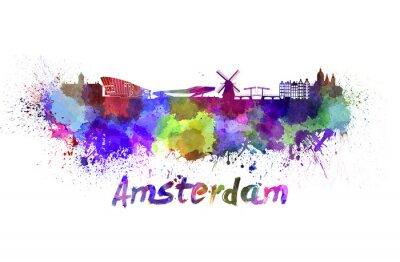 Plakat Amsterdam Skyline w akwareli
