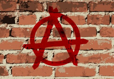 Plakat Anarchy sign on brick wall texture, vector