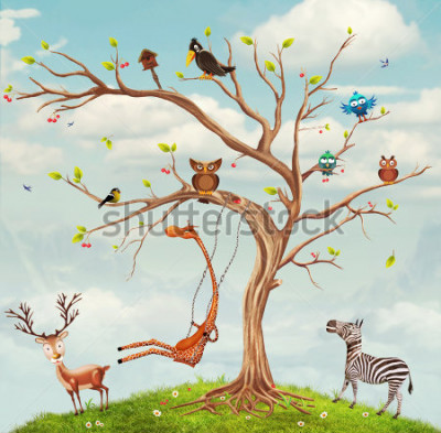 Plakat Animals and tree.Bunch of cute little creatures gathered on the branches of tree