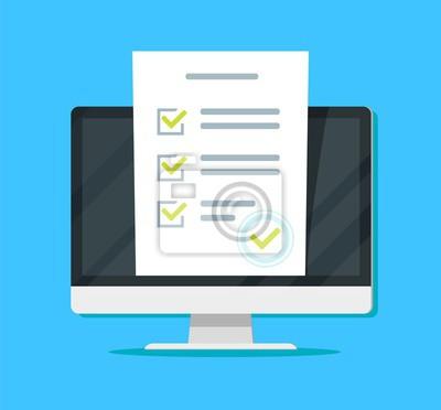Plakat Ankieta online na komputerze PC ilustracji wektorowych, płaski monitor kreskówka pokazujący dokument arkusz egzaminacyjny quizu, koncepcja głosowania elektronicznego w Internecie, nauka przez Internet