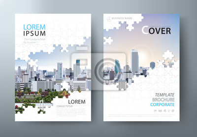 Plakat Annual report brochure, flyer design, Leaflet cover presentation abstract flat background, book cover templates, Jigsaw puzzle image.