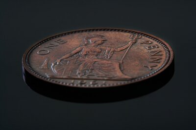 Plakat antique coin of great britain, penny of 1918 year