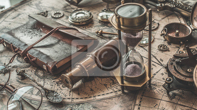 Plakat Antique Kompas, Lampa Olejowa I Spyglass Binocular