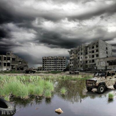 Plakat apokaliptyczny krajobraz