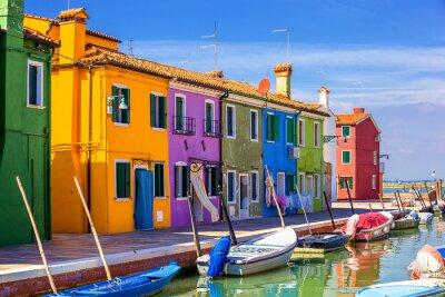 Plakat architektura na wyspie Burano. Wenecja. Włochy.