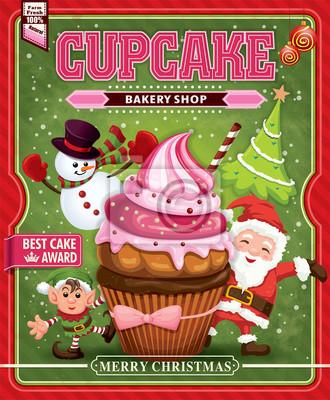 Archiwalne Christmas Cupcake projekt plakatu z Mikołajem