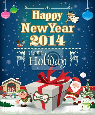Archiwalne Christmas plakat projekt z Mikołajem