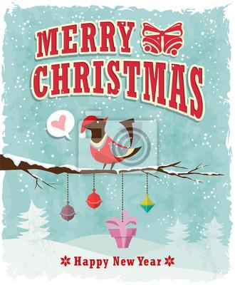 Archiwalne Christmas plakat projekt z ptakiem i teraźniejszości