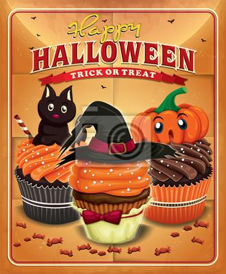 Archiwalne Halloween projekt plakatu z cupcakes